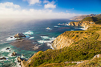 Big Sur coast, Bixby Creek Bridge in distance, California, USA, Pacific Ocean