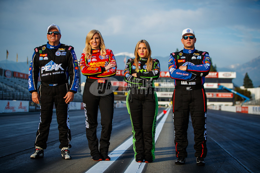 Feb 8, 2017; Pomona, CA, USA; (From left) NHRA drivers John Force , Courtney Force , Brittany Force and Robert Hight pose for a portrait during media day at Auto Club Raceway at Pomona. Mandatory Credit: Mark J. Rebilas-USA TODAY Sports