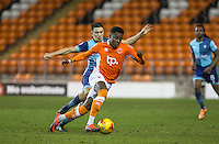 Bright Osayi-Samuel of Blackpool turns Luke O'Nien of Wycombe Wanderers during the The Checkatrade Trophy match between Blackpool and Wycombe Wanderers at Bloomfield Road, Blackpool, England on 10 January 2017. Photo by Andy Rowland / PRiME Media Images.