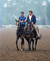 Horse racing; racehorse; Thoroughbred; racetrack, Winning Colors, Belmont Park, Belmont Stakes, Saratoga Race Course, 1988 Kentucky Derby winner, filly, Wayne Lukas, Jeff Lukas