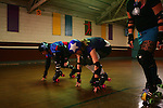 February 19, 2008; Santa Cruz, CA, USA; Female roller skaters during Santa Cruz Rollergirls practice in Santa Cruz, CA. Photo by: Phillip Carter