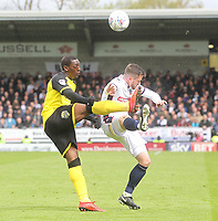Bolton Wanderers Andrew Taylor Burton Albion's Marven Sordell<br /> <br /> Photographer Mick Walker/CameraSport<br /> <br /> The EFL Sky Bet Championship - Burton Albion v Bolton Wanderers - Saturday 28th April 2018 - Pirelli Stadium - Burton upon Trent<br /> <br /> World Copyright &copy; 2018 CameraSport. All rights reserved. 43 Linden Ave. Countesthorpe. Leicester. England. LE8 5PG - Tel: +44 (0) 116 277 4147 - admin@camerasport.com - www.camerasport.com