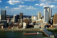 Pittsburgh, skyline, PA, Pennsylvania, Aerial view of the downtown skyline of Pittsburgh and Smithfield Street Bridge (truss-type bridge) crossing the Monongahela River.