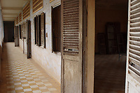 "Phnom Penh,Cambodia - 2007 File Photo -<br /> <br /> Tuol Sleng, former Khmer Rouge S-21 prison<br /> <br /> The Tuol Sleng Genocide Museum is a museum in Phnom Penh, capital of Cambodia. The site is a former high school which was used as the notorious Security Prison 21 (S-21) by the Khmer Rouge regime from its rise to power in 1975 to its fall in 1979. Tuol Sleng in Khmer means ""Hill of the Poisonous Trees"" or ""Strychnine Hill"".<br /> <br /> photo : James Wong-  Images Distribution"