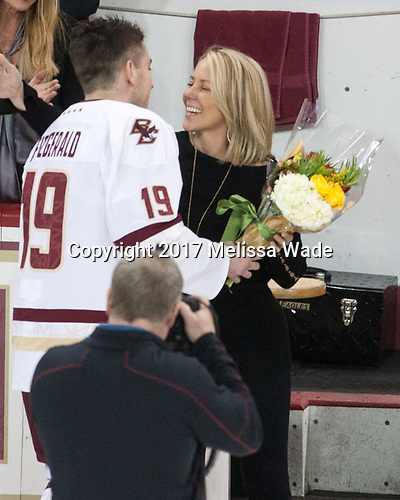 Ryan Fitzgerald (BC - 19), Kerry Fitzgerald - The visiting University of Vermont Catamounts tied the Boston College Eagles 2-2 on Saturday, February 18, 2017, Boston College's senior night at Kelley Rink in Conte Forum in Chestnut Hill, Massachusetts.Vermont and BC tied 2-2 on Saturday, February 18, 2017, Boston College's senior night at Kelley Rink in Conte Forum in Chestnut Hill, Massachusetts.