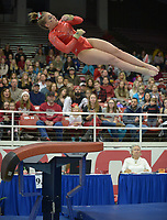 NWA Democrat-Gazette/ANDY SHUPE<br />Arkansas' Sydney McGlone competes Friday, Jan. 12, 2018, in the vault portion of the 11th-ranked Razorbacks' meet with sixth-ranked Kentucky in Barnhill Arena in Fayetteville. Visit nwadg.com/photos to see more photographs from the meet.