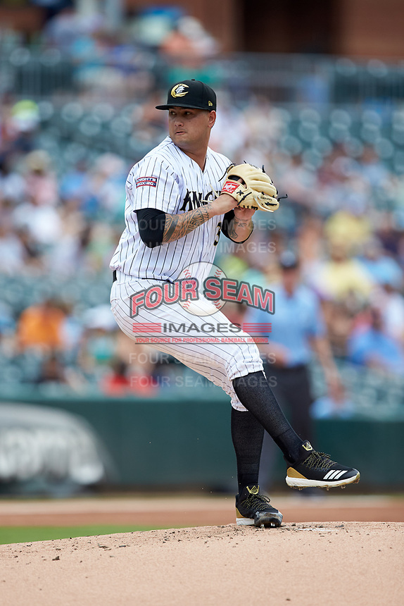 Charlotte Knights starting pitcher Jordan Guerrero (36) in action against the Indianapolis Indians at BB&T BallPark on August 22, 2018 in Charlotte, North Carolina.  The Indians defeated the Knights 6-4 in 11 innings.  (Brian Westerholt/Four Seam Images)