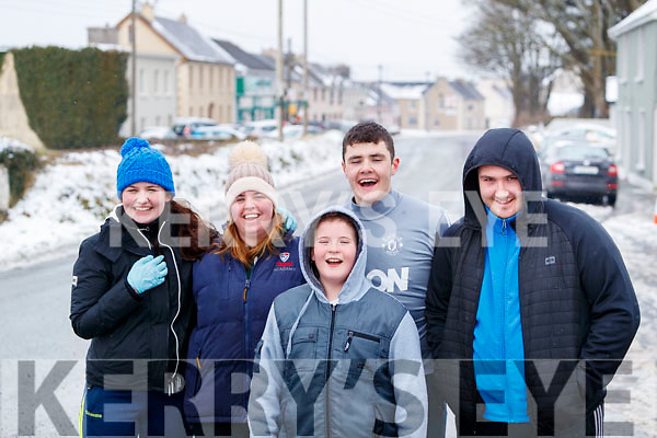Michaela Brosnan Nadine O'Grady, Aaron O'Connell, TJ and Sean Browne  having fun in snow in Ballybunnion on Friday.