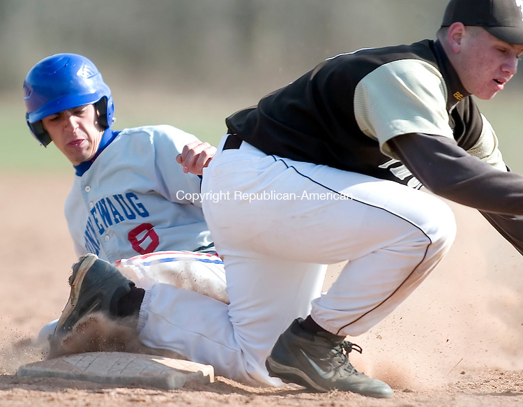 WOODBURY, CT- 11 APRIL 07- 041107JT06- <br /> Nonnewaug's Spencer Eriksen slides safely to third and then advances to home as the ball skips past Thomaston's Ben Yaffe at Wednesday's game at Nonnewaug. Thomaston won 4-2.<br /> Josalee Thrift Republican-American