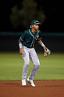 AZL Athletics Green shortstop Jhoan Paulino (8) during an Arizona League game against the AZL Dodgers Lasorda at Camelback Ranch on June 19, 2019 in Glendale, Arizona. AZL Dodgers Lasorda defeated AZL Athletics Green 9-5. (Zachary Lucy/Four Seam Images)