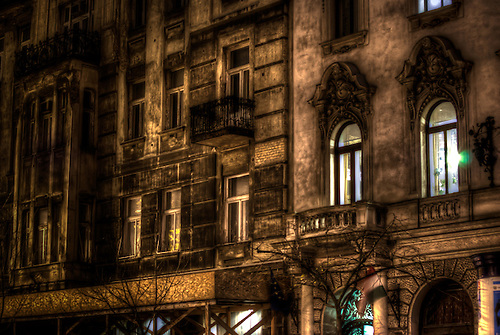 Budapest at night on a long lens