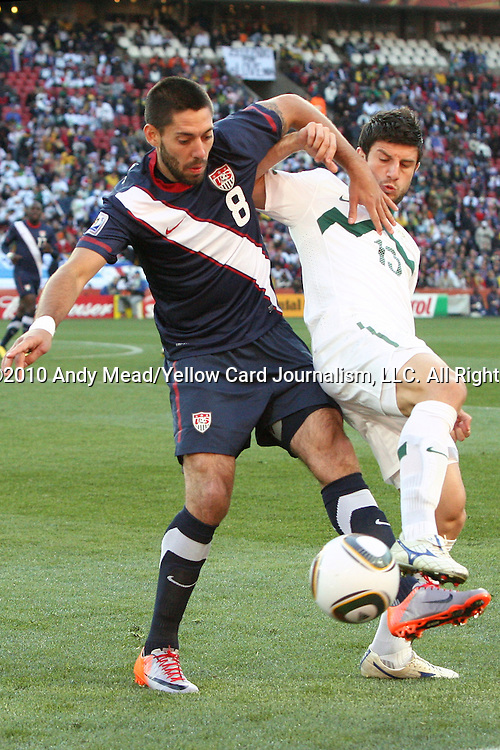 18 JUN 2010: Clint Dempsey (USA) (8) and Bojan Jokic (SVN). The Slovenia National Team tied the United States National Team 2-2 at Ellis Park Stadium in Johannesburg, South Africa in a 2010 FIFA World Cup Group C match.