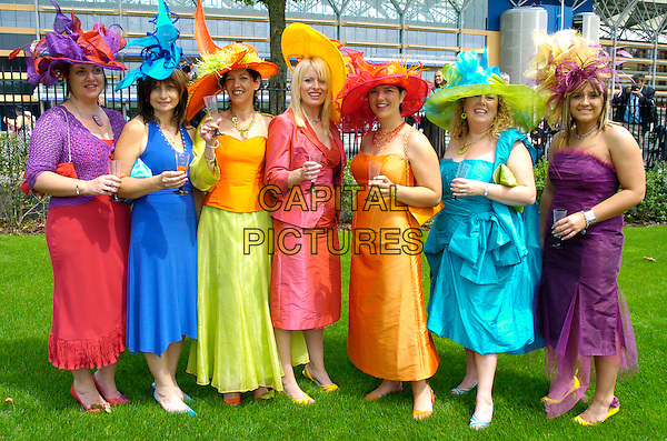 GUESTS.Royal Ascot Day One,.Ascot Racecourse,.London, England, June 19th 2007..full length multi-coloured dress hats  dresses rainbow green blue red orange purple.CAP/CAN.©Can Nguyen/Capital Pictures