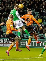 28th January 2020; Easter Road, Edinburgh, Scotland; Scottish Cup replay, Football, Hibernian versus Dundee United; Christian Doidge of Hibernian scores to make it 3-2 to Hibernian