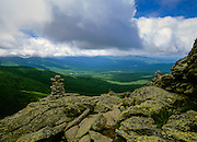 Hiking on Caps Ridge Trail in the  Presidential Range of the White Mountain National Forest in New Hampshire USA.