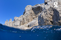 Rocky cliffs and underwater sea view (split shot), Riou Island, Marseille, France (Licence this image exclusively with Getty: http://www.gettyimages.com/detail/103301309 )