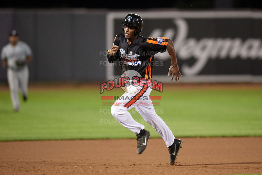 Aberdeen IronBirds left fielder Jaylen Ferguson (31) runs the bases during a game against the Staten Island Yankees on August 23, 2018 at Leidos Field at Ripken Stadium in Aberdeen, Maryland.  Aberdeen defeated Staten Island 6-2.  (Mike Janes/Four Seam Images)
