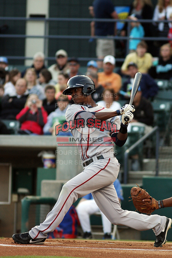 Potomac Nationals outfielder Michael Taylor #12 at bat during a game against the Myrtle Beach Pelicans at Tickerreturn.com Field at Pelicans Ballpark on April 10, 2012 in Myrtle Beach, South Carolina. Potomac defeated Myrtle Beach by the score of 6-4. (Robert Gurganus/Four Seam Images)