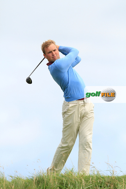 Jonathan Yates (Naas) on the 6th tee during Round 2 of The South of Ireland in Lahinch Golf Club on Sunday 27th July 2014.<br /> Picture:  Thos Caffrey / www.golffile.ie