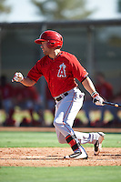 Los Angeles Angels of Anaheim Zach Gibbons (48) during an Instructional League game against the Colorado Rockies on October 6, 2016 at the Tempe Diablo Stadium Complex in Tempe, Arizona.  (Mike Janes/Four Seam Images)