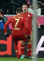 FUSSBALL   1. BUNDESLIGA  SAISON 2012/2013   17. Spieltag FC Bayern Muenchen - Borussia Moenchengladbach    14.12.2012 Jubel nach dem Tor zum 1:1 Xherdan Shaqiri mit Franck Ribery (FC Bayern Muenchen)