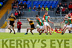 Mike Breen Mid Kerry and Gavin O'Shea Dr Crokes contest the loose ball during their SFC clash in Fitzgerald Stadium on Sunday