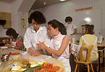 Finishing School Montreux Switzerland Surval Mont-Fleuri a girls private fee paying boarding school. Domestic science she has cut her finger.  1990S