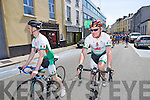 Home to Rome: Tom Foley and  Finbarr Walsh outside Saint Johns church before the three cyclists headed off on their journey to Rome.