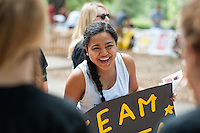 Jessica Madarang '14. Occidental College students get involved at the annual Involvement Fair (formerly Club Day) on Tuesday, September 11, 2012 in the Academic Quad. About 120 organizations set up shop with mailing list sign up sheets, fliers for upcoming events and information about ways to get involved with their department or organization. (Photo by Marc Campos, Occidental College Photographer)