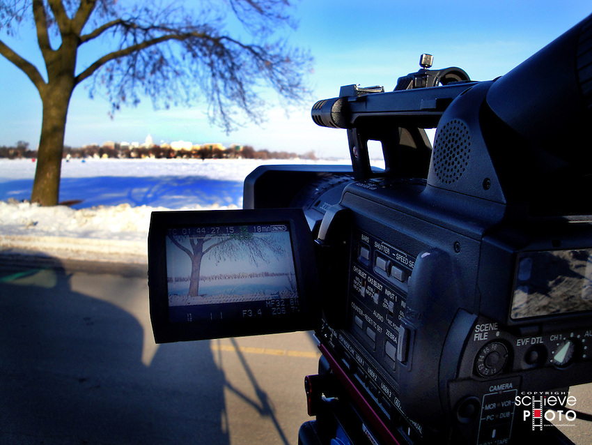 Shooting high definition video of Madison, Wisconsin's skyline.