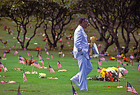 Paying respects at National Memorial Cemetery of the Pacific at Punchbowl Crater, Oahu