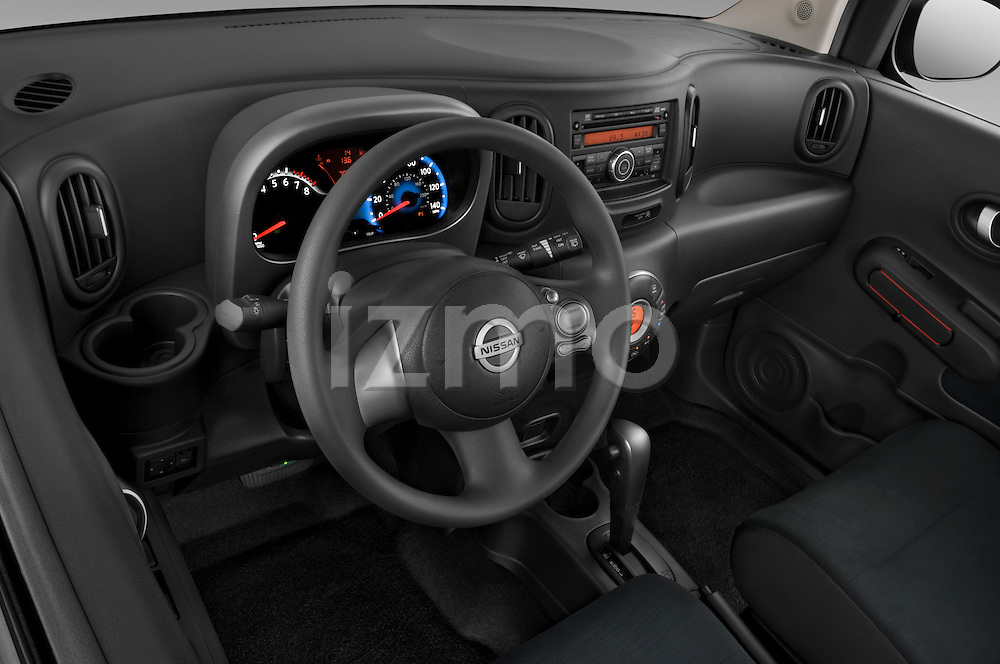 High angle dashboard view of a 2009 Nissan Cube SL