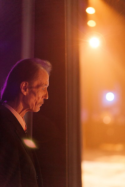 September 26, 2013. Raleigh, North Carolina.<br />  Tony Rice waits backstage before accepting his induction into the International Bluegrass Music Hall of Fame.<br />  Bluegrass guitar legend Tony Rice was inducted into the International Bluegrass Music Hall of Fame during the International Bluegrass Music Awards, held in Memorial Hall at the Duke Energy Center for the Performing Arts.