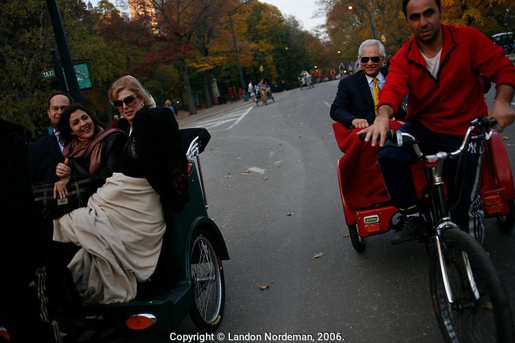 NEW YORK - NOV 11: Rickshaw drivers pedal passengers around Central Park on November 11, 2006, in New York City. (Photo by Landon Nordeman)