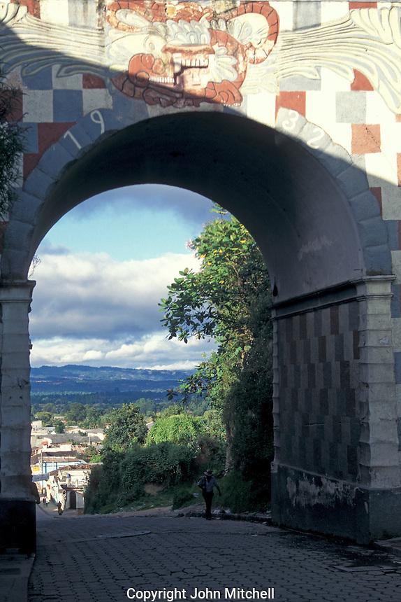 Arch and street in Chichicastenango, Guatemala