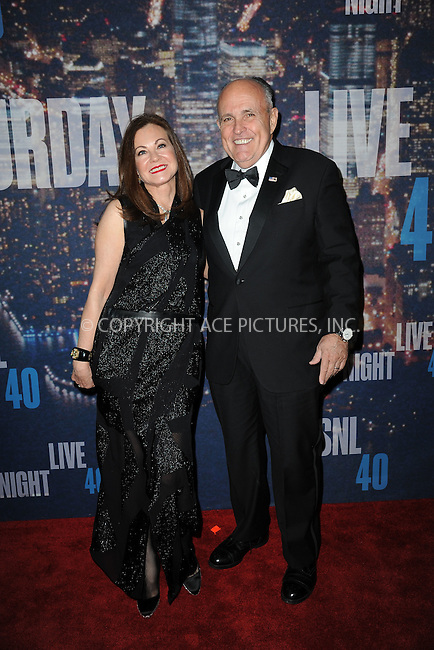 WWW.ACEPIXS.COM<br /> February 15, 2015 New York City<br /> <br /> Judy Giuliani and Rudolph Giuliani walking the red carpet at the SNL 40th Anniversary Special at 30 Rockefeller Plaza on February 15, 2015 in New York City.<br /> <br /> Please byline: Kristin Callahan/AcePictures<br /> <br /> ACEPIXS.COM<br /> <br /> Tel: (646) 769 0430<br /> e-mail: info@acepixs.com<br /> web: http://www.acepixs.com