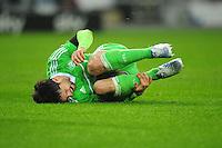 FUSSBALL   1. BUNDESLIGA    SAISON 2012/2013    13. Spieltag   VfL Wolfsburg - SV Werder Bremen                          24.11.2012 Diego (VfL Wolfsburg) verletzt am Boden