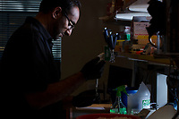 Postdoctoral Associate Bobby Dhadwar prepares for sequencing human skin cells in an anti-aging screen in George Church's Lab in the New Research Building at Harvard Medical School's Department of Genetics in Boston, Massachusetts, USA, on Tues., Sept. 5, 2017. Dhadwar's work is looking at reversing aging in human cells.