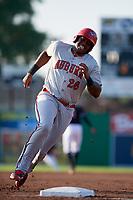 Auburn Doubledays first baseman Jamori Blash (26) runs the bases during a game against the Batavia Muckdogs on June 28, 2018 at Dwyer Stadium in Batavia, New York.  Auburn defeated Batavia 14-9.  (Mike Janes/Four Seam Images)