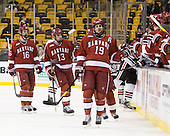 Alex Fallstrom (Harvard - 16), Tommy O'Regan (Harvard - 13), Alex Killorn (Harvard - 19) - The Harvard University Crimson defeated the Northeastern University Huskies 3-2 in the 2012 Beanpot consolation game on Monday, February 13, 2012, at TD Garden in Boston, Massachusetts.