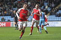 Fleetwood Town's Ched Evans celebrates scoring his sides first goal <br /> <br /> Photographer Mick Walker/CameraSport<br /> <br /> The EFL Sky Bet League One - Coventry City v Fleetwood Town - Tuesday 12th March 2019 - Ricoh Arena - Coventry<br /> <br /> World Copyright © 2019 CameraSport. All rights reserved. 43 Linden Ave. Countesthorpe. Leicester. England. LE8 5PG - Tel: +44 (0) 116 277 4147 - admin@camerasport.com - www.camerasport.com