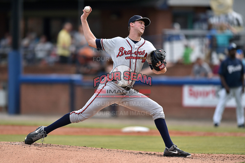 Rome Braves starting pitcher Max Povse (33) delivers a pitch during a game against the Asheville Tourists on June 11, 2015 in Asheville, North Carolina. The Tourists defeated the Braves 4-2. (Tony Farlow/Four Seam Images)