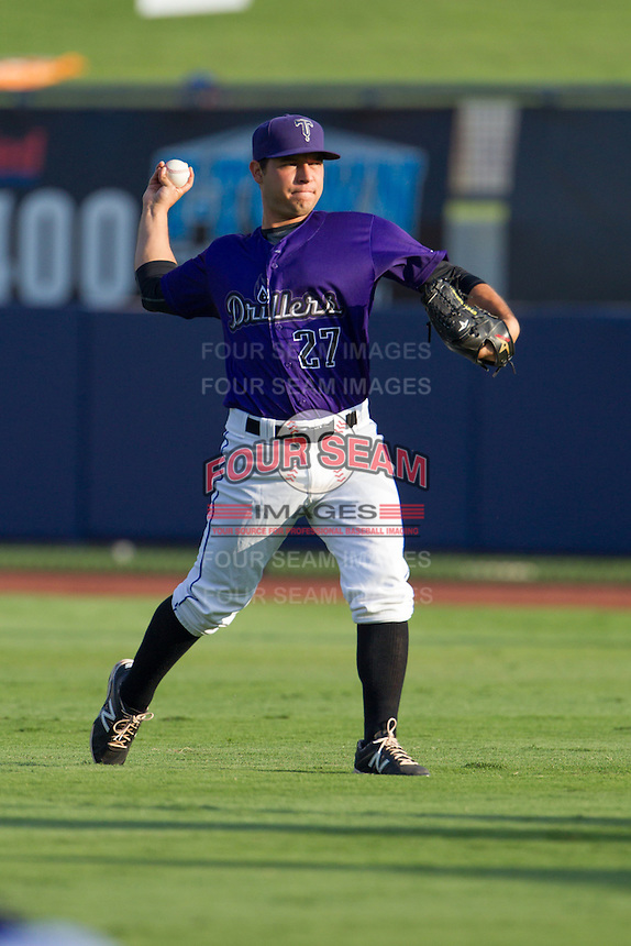 Tulsa Drillers pitcher Richard Castillo (27) warms up in the outfield prior to the Texas League game against the Frisco RoughRiders at ONEOK field on August 15, 2014 in Tulsa, Oklahoma  The RoughRiders defeated the Drillers 8-2.  (William Purnell/Four Seam Images)