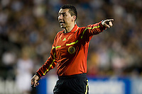 Referee Jorge Gonzalez in action during the game between Earthquakes and Real Salt Lake at Buck Shaw Stadium in Santa Clara, California on March 27th, 2010.   Real Salt Lake defeated San Jose Earthquakes, 3-0.