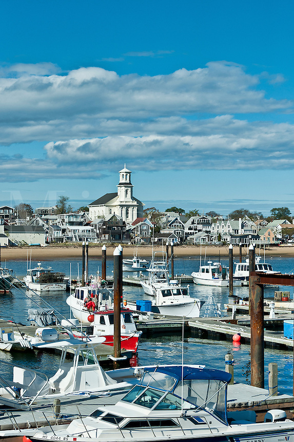 Small boats moored in Provincetown Marina, McMillan Wharf, Provincetown, Cape Cod, MA