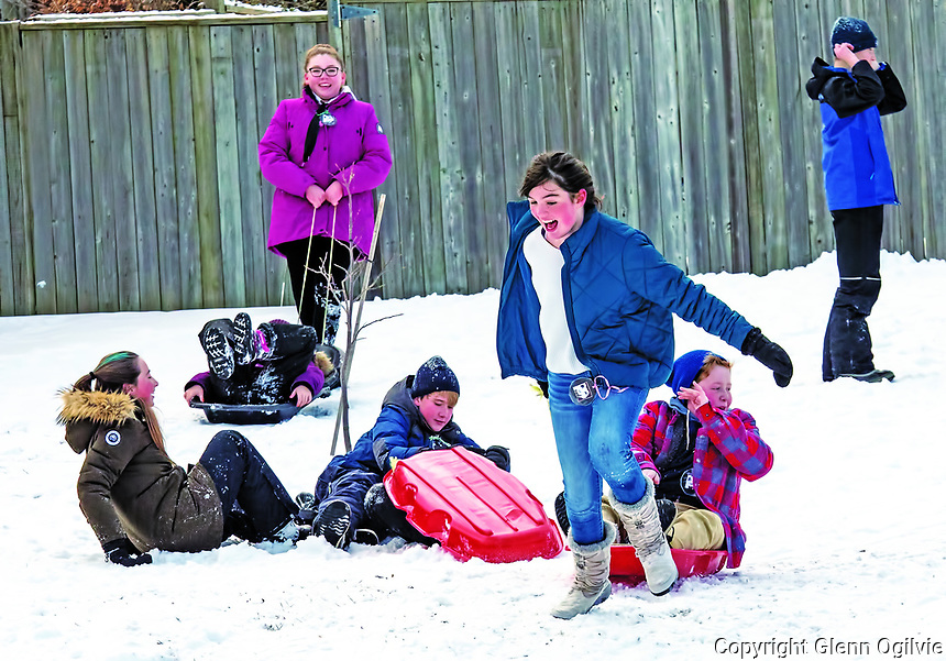 An outdoor Carnaval d'hiver was held at Cathcart Blvd. School to celebrate French culture and learn traditions that occur at the Quebec Carnaval. Upwards of 550 children took part in things like toboggan races, hockey, football bowling, musical entertainment. <br /> From left:<br /> Celeste Wiersma, Ella Capser, Isaac Jones, Fynn Hazzard, Cole Vannatter, Hudson Murray.<br /> <br /> Upwards of $800 raised from the event will be donated to Water For Sudan and Sarnia Humane Society.<br /> <br /> Bonhomme, mascotte du Carnaval,
