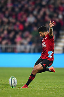 11th July 2020, Christchurch, New Zealand;  Richie Mo'unga of the Crusaders kicks a penalty during the Super Rugby Aotearoa, Crusaders versus Blues, at Orangetheory Stadium, Christchurch