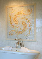 Oceanius backsplash medallion in Celeste, Travertine White, Crema Marfil, Renaissance Bronze, Sylvia Gold