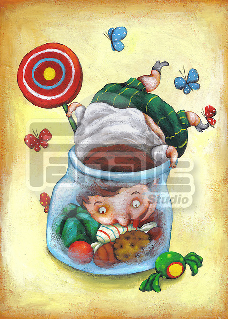Illustrative image of fat boy in candy jar representing unhealthy living
