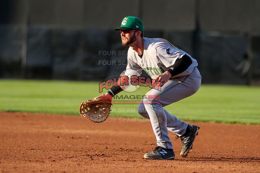 Clinton LumberKings first baseman Evan Edwards (27) during a Midwest League game against the Wisconsin Timber Rattlers on June 20, 2019 at Fox Cities Stadium in Appleton, Wisconsin. Wisconsin defeated Clinton 5-2. (Brad Krause/Four Seam Images)